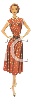 Polka  Dress on 1940 S Style Polka Dot Day Dress   Royalty Free Clipart Image