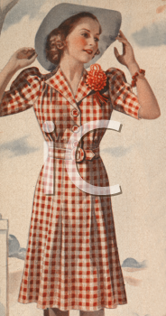 1940's Woman Modeling a Check-Patterned Dress