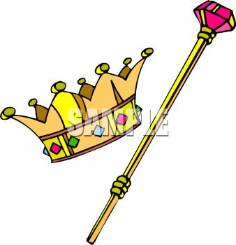 Gold Coronet and Scepter - Royalty Free Clip Art Picture