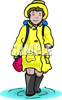 Girl, Wearing a Rain Slicker, Walking Through a Puddle