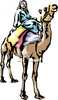 Man Seated Atop His Camel - Royalty Free Clipart Image