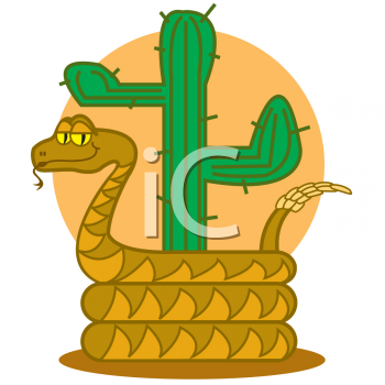 Cartoon Rattlesnake by a Cactus