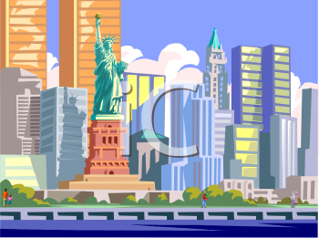 Royalty free clipart image new york city skyline statue of liberty