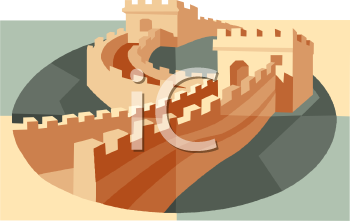 & Great Wall of China - Royalty Free Clip Art Picture