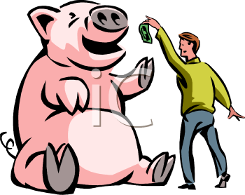 Feeding the Greedy Wall Street Pigs - Royalty Free Clip Art Picture
