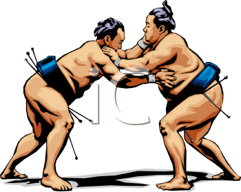 Sumo Wrestling - Royalty Free Clip Art Image