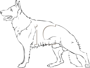 Black and White Outline of a German Shepherd