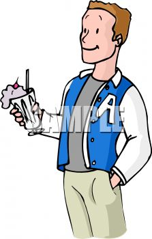 Boy Wearing a Letterman's Jacket, Holding a Milkshake