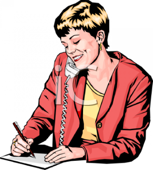 Woman Taking a Telephone Message