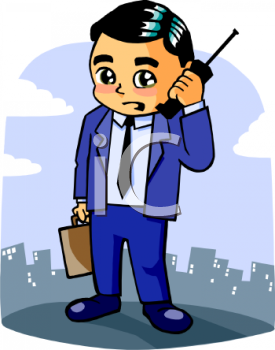Cartoon of a Businessman Using His Cell Phone