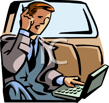 Businessman Riding in a Limo, Working