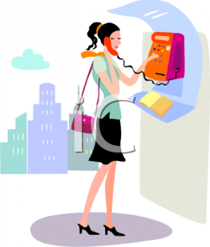 Young Woman Using a Pay Phone