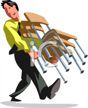 Office Worker Moving Chairs - Royalty Free Clip Art Image