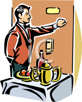 Waiter Bringing Room Service - Royalty Free Clipart Picture