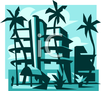 Royalty Free Clipart Image Vacation Hotel On The Beach