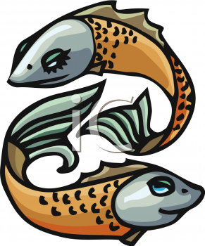 Pisces Zodiac Sign - Royalty Free Clipart Image