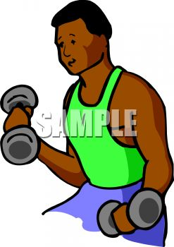 African American Man Using Small Weights