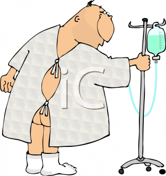 Cartoon of a Man Wearing a Hospital Johnny