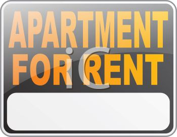 Black Apartment for Rent Sign