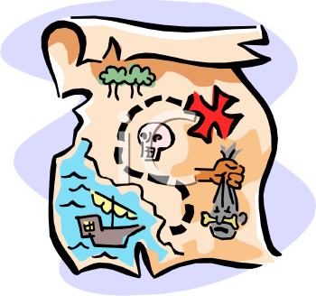 Find on Map To Find Pirate S Treasure   Royalty Free Clip Art Picture