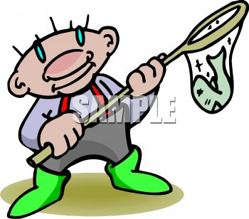 cartoon of a man with a fish in a net royalty free clip art picture rh clipartguide com