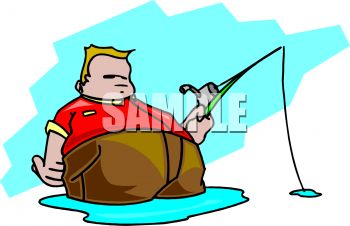 Royalty free clipart image fat man fishing for Fat guy fishing