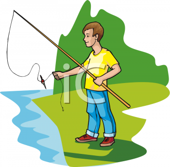 Teen Boy Fly Fishing in a Pond