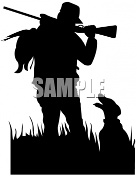 Bird Dog with His Master in Silhouette
