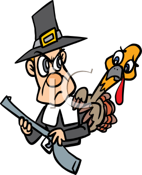 Turkey Hiding Behind Pilgrim with a Musket