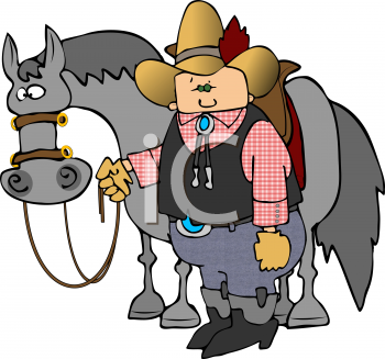 Cartoon of a Cowboy Standing Next to His Horse