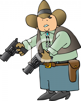 Cartoon of a Cowboy Holding Two Revolvers