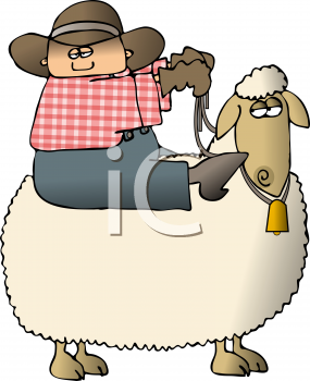 Cartoon of a Cowboy Riding a Sheep