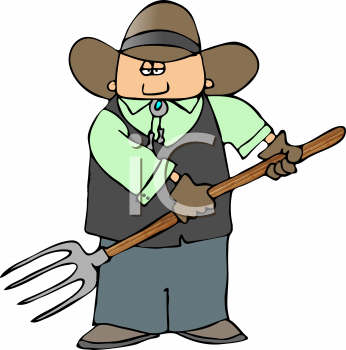 Cartoon of a Cowboy with a Pitchfork