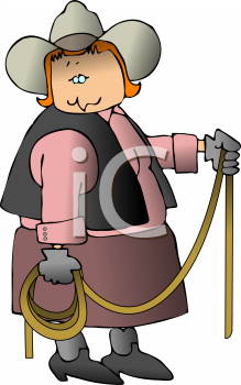 Cartoon of a Cowgirl with a Lariat Rope