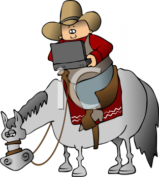 Cartoon of a Cowboy Sitting on a Horse, Using a Laptop