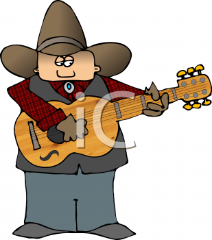 Cartoon of a Cowboy Playing the Guitar