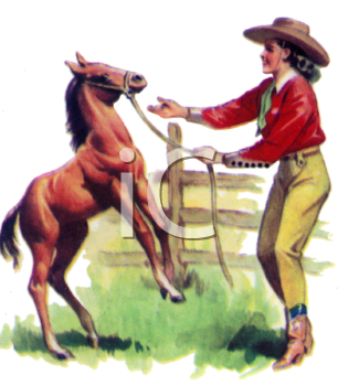 Cowgirl Playing with a Colt