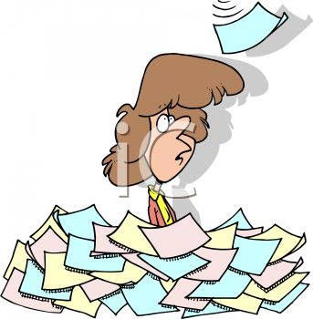 Cartoon of a Secretary Buried Under Paperwork
