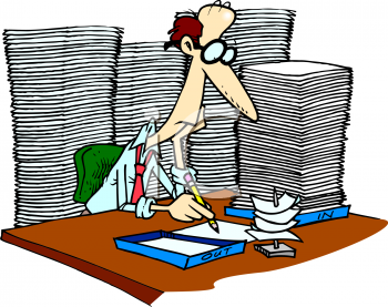 cartoon of an office worker with too much paperwork royalty free rh clipartguide com paperwork clipart free drowning in paperwork clipart