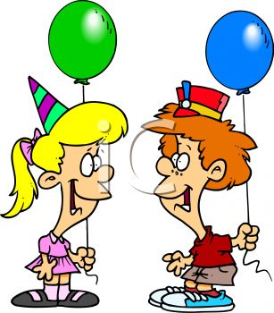 cartoon of a boy and girl at a birthday party royalty free clipart rh clipartguide com birthday party clipart png birthday party clip art free