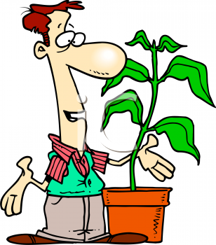 Cartoon of a Florist Talking to One Of His Plants