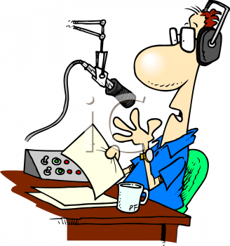 Cartoon of a Radio Announcer in the Studio