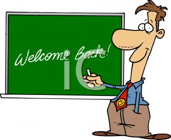 Cartoon of a Teacher Welcoming His Students Back