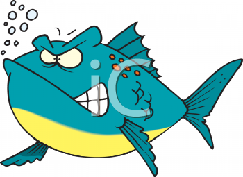 Cartoon of a Mean Looking Fish