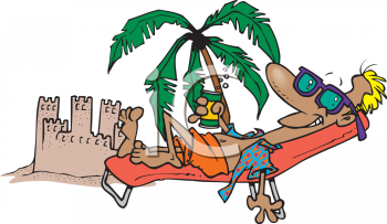 Cartoon of a Man Lounging on the Beach