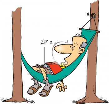Man Napping in a Hammock Cartoon - Royalty Free Clipart Picture