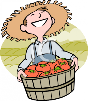 Farmer with a Basket of Tomatoes