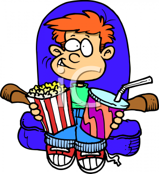 Boy, at the Theater ,Watching a Movie with Snacks