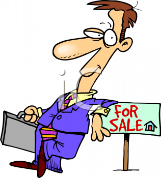 Real Estate Agent Leaning on a For Sale Sign