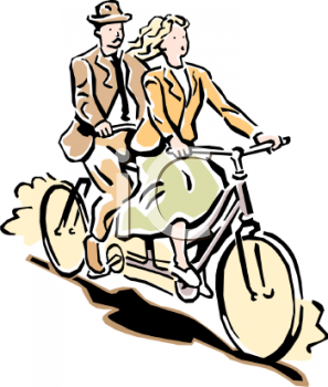 Young Couple Riding on a Bicycle Built for Two